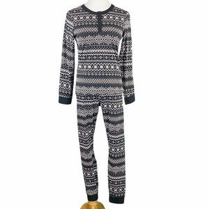 H&M Winter Fair Isle Print Long Sleeve Pajama Set